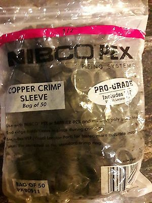 "(50) New In Bag 1/2"" Pex Copper Crimp Sleeve"