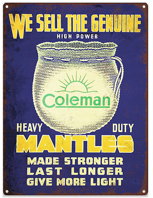 1920s Coleman Lantern Mantles Advertising Ad Baked Metal Repro Sign 9x12 60149