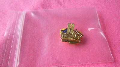 Twin Towers In Remembrance USA Flag and People Commemorative Pin