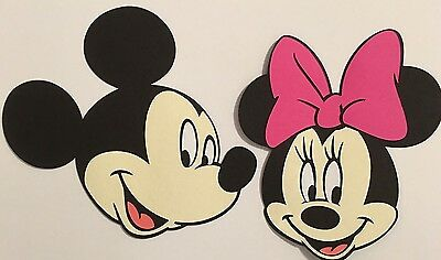 Mickey & Minnie Mouse Head Die Cut Set Handmade Paper Piecing CARDSTOCK