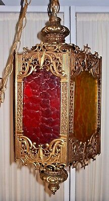 Gothic Paneled Chandelier w/ Multi-Colored Panels - Ornate, Diecast Metal