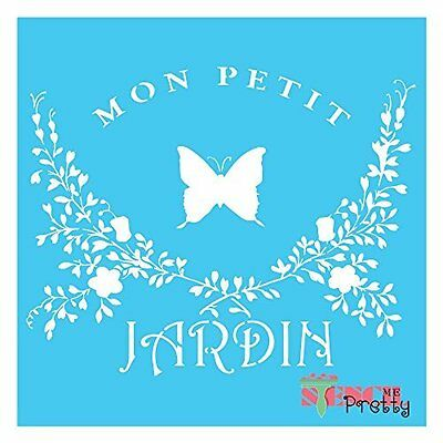 Vintage French JARDIN Stencil - DIY Signage Rustic Furniture Butterfly Wall Art