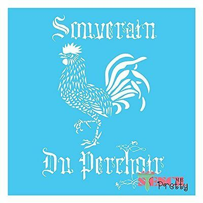 Stencil - French Rooster DIY Sign Vintage Furniture Chic Fabric Wall Art Decor