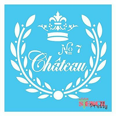 Stencil French Chateau Vintage Rustic Shabby DIY Sign Template Furniture Fabric