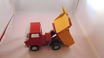 Vintage Marx Dump Truck Tin Toy Red/Yellow with Movable Bed Plastic Accents