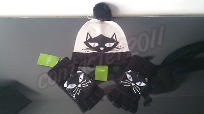 772d342a5 KATE SPADE COOL Cat Beanie Hat w/ Pom Pom Black Cream Crystal Blue ...