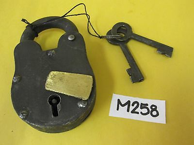 (1) Vintage Cast Iron Antique Style Heavy Padlock w. (2) Keys Prop Stage Theater