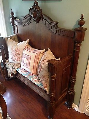 Ornate Antique Oak Bench