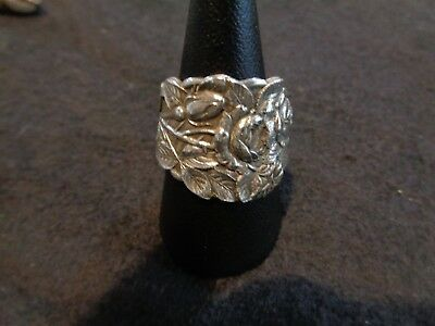 Antique 925 Sterling Silver Floral Spoon Ring  Multi Rose Saart Early 1900s s9.5