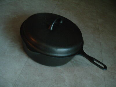 "#8 Griswold Iron Mountain 3"" deep cast iron chicken pan skillet w/ cover CLEAN!"