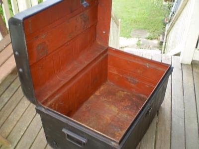 vintage large metal trunk rustic ship style or railway storage trunk 1960s style
