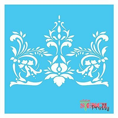 French Floral Scroll Flourish Stencil - DIY furniture Chic Vintage wall art |