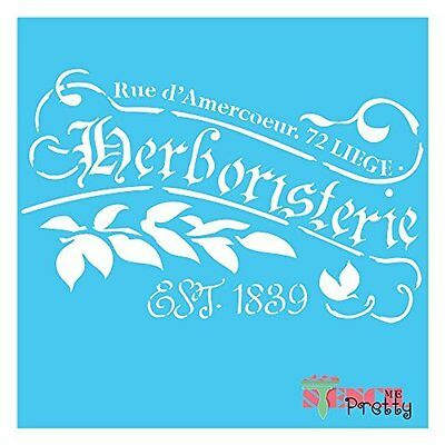 French Herboristerie stencil - DIY Vintage Furniture decor Shabby Chic Wall Art