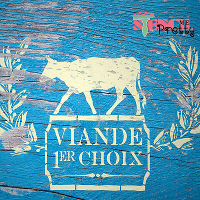 ❤ French Viande Choix STENCIL - DIY Vintage Furniture Template Rustic Home Decor