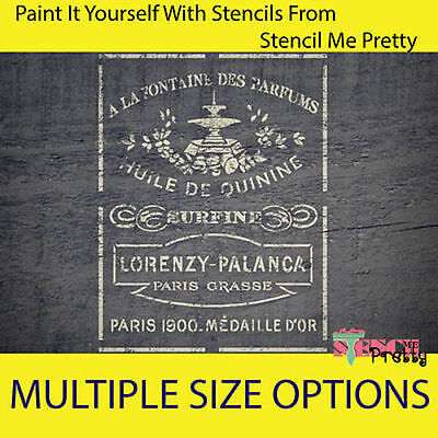 ❤ French Perfume STENCIL - DIY Vintage Furniture Chic template Rustic wall art |