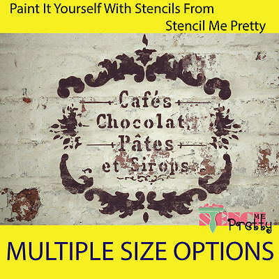 ❤ Café Chocolat French Stencil - Vintage wall art DIY Chic Rustic furniture |