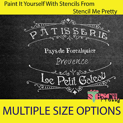 ❤ French Patisserie Stencil - DIY Vintage Furniture Sign Chic template Wall Art