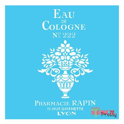 French EAU DE COLOGNE stencil - Vintage DIY Arts and Crafts Shabby Chic Sign |