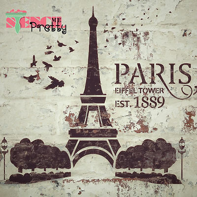 Paris Eiffel Tower Stencil DIY Vintage Furniture Shabby Chic Template Rustic Art