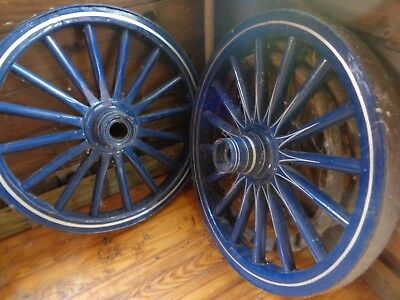1 Pair ~ Set Cast Iron Spoked Amish Wagon Hub Wheels for Horse Drawn Buggy ~32""