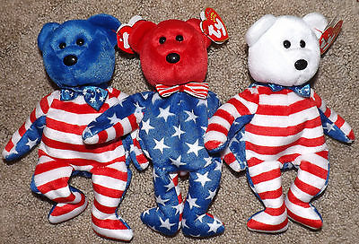 Ty Beanie Babies Liberty Red, White, & Blue Set Of 3