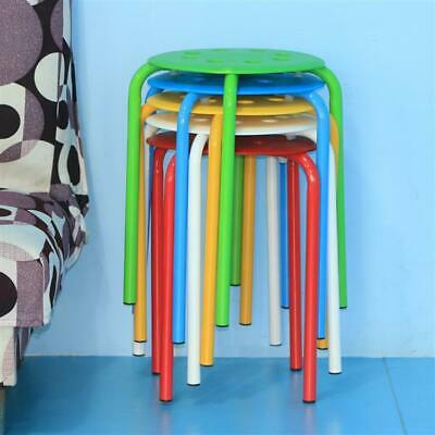 """Portable 5 Plastic Stack Stools 8 Holes Assorted Color 17.3"""" Height Bar Chairs"""