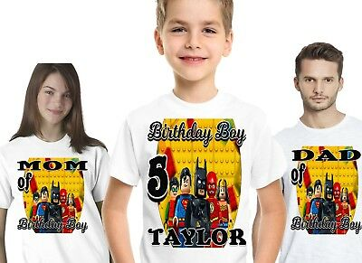 Lego Superhero Birthday T Shirt Shirts Family Custom Name Number Supplies Decor