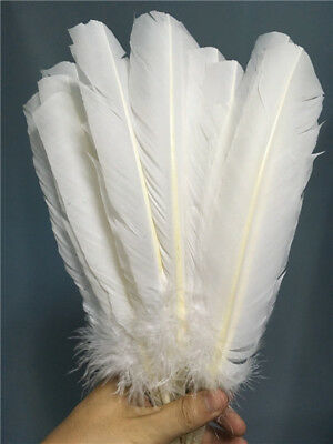Wholesale beautiful white turkey feather 10-12 inches / 25-30 cm 10-100pcs