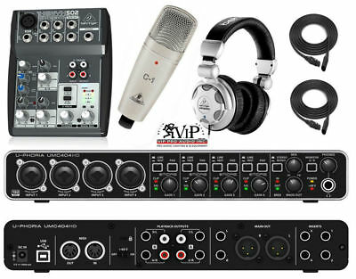 Behringer Studio Complete Professional Recording Package Interface Mixer Mic