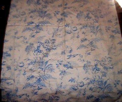 Antique Curtain Panel French Toile Blue Birds Shabby Custom Made 70 X 48 In