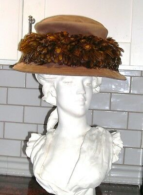 Eric Javits Edwardian hat,brown suede,feather trim,water repellent,one size