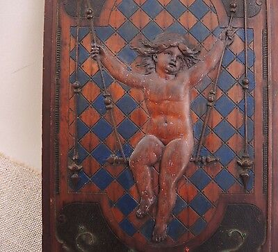 18th Century Carved Putti Panel French Cherub Architectural Walnut Wood Carving