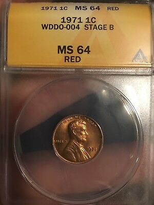 1971 1C RD Lincoln Cent ANACS MS64RD WDDO-004 Stage B 6010546 DDO Double Die