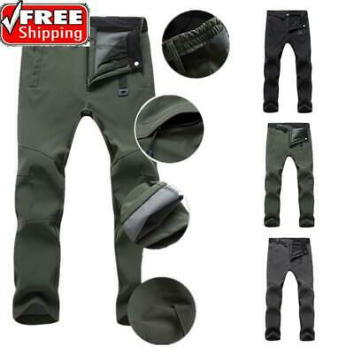 US Mens Waterproof Outdoor Skiing Climbing Pants Winter Warm Fleece Trousers