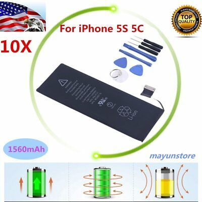 10 X 1560mAh Li-ion Internal Battery Replacement for iPhone 5S 5C + Free Tools H