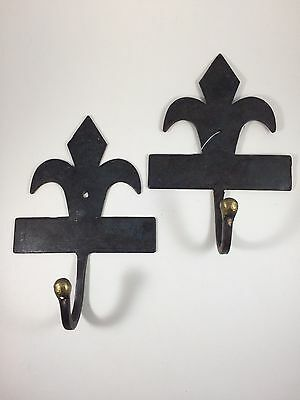 Large Fleur-De-Lis Metal  Hooks/Hangers Pier One Imports Gothic Style Set of Two