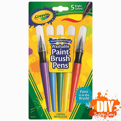 Crayola Washable Paint Brush Pens 5 Bright Colours Non Toxic No Drip Arts Crafts