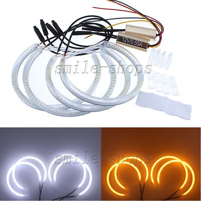 4 x Angel Eye Halo Light Ring SMD LED Headlight For BMW E46 3 Series Coupe Sedan