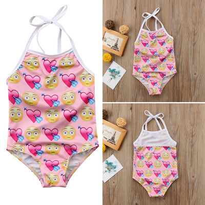 AU Newborn Baby Girl Heart through the heart Emoji Straps Swimsuit Outfits 2-8Y