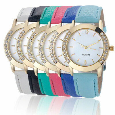 Fashion Classic Analog Womens Watch Diamond Leather Band Quartz Wrist Watch Gift