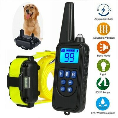 Waterproof LCD Dog Rechargeable Remote Shock Training Collar Anti Bark For 2 dog