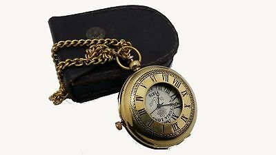 Nautical Solid Brass Marine Vintage Pocket Watch With Lather Box Unique Gift