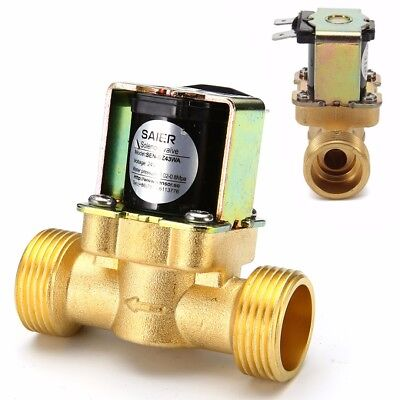 """24V 3/4"""" 2-Way N/C Normally Closed Brass Electric Solenoid Valve for Water Oil"""