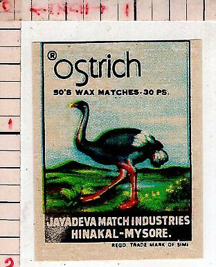 India Vintage Old Rare Match Box Label Ostrich Large Flightless Bird #480177