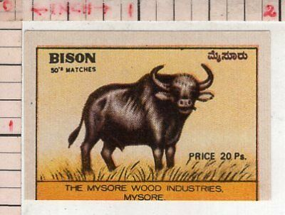 India Vintage Old Rare Match Box Label Bison Brand Large Animal #480443