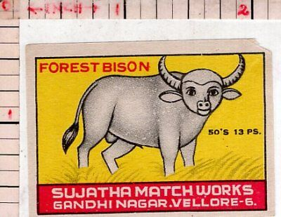 India Vintage Old Rare Match Box Label Forest Bison Brand Large Animal #480348