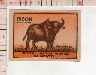 India Vintage Old Rare Match Box Label Bison Brand Large Animal #480499