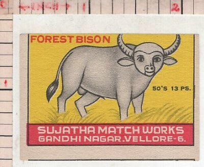 India Vintage Old Rare Match Box Label Forest Bison Brand Large Animal #480542