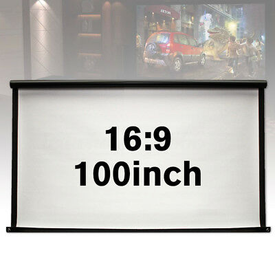 """100"""" Projector Screen 16:9 Projection HD Roll Up Pull Down Home Theater Outdoor"""