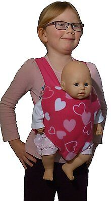 Fuzzlebuzz Doll Carrier Sling Reversible Pink Hearts And Stripes